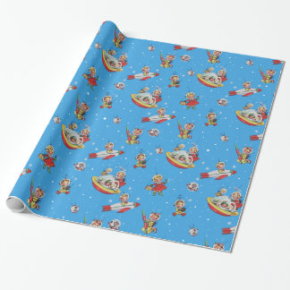 Vintage Space-Babies Collage Wrapping Paper