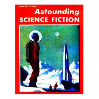 Vintage Space Explorer and Rocket Ship Postcard