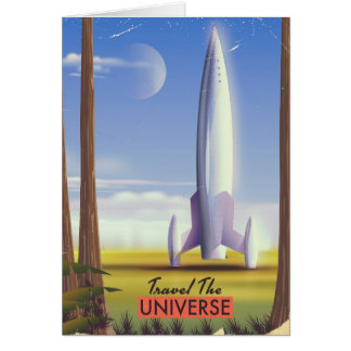 Vintage space rocket sci-fi poster. card
