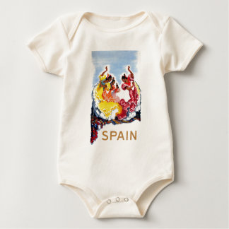 Vintage Spain Flamenco Dancers Travel Poster Baby Bodysuit