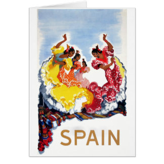 Vintage Spain Flamenco Dancers Travel Poster Card