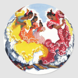 Vintage Spain Flamenco Dancers Travel Poster Classic Round Sticker