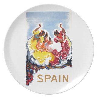 Vintage Spain Flamenco Dancers Travel Poster Dinner Plates