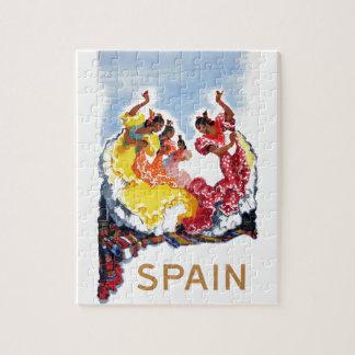 Vintage Spain Flamenco Dancers Travel Poster Jigsaw Puzzle