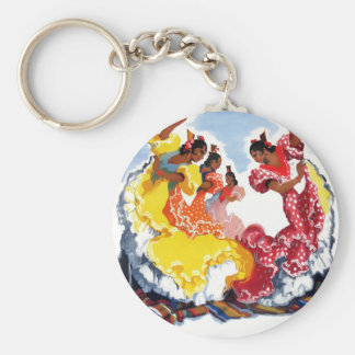 Vintage Spain Flamenco Dancers Travel Poster Key Ring