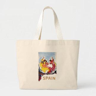 Vintage Spain Flamenco Dancers Travel Poster Large Tote Bag