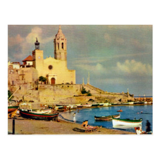 Vintage Spain,  Sitges, cathedral and waterfront Postcard