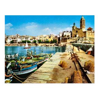 Vintage Spain Sitges waterfront Postcards