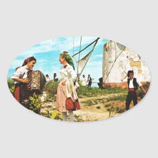 Vintage Spain, Spanish folklore Oval Sticker