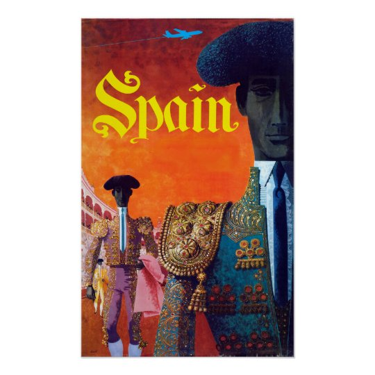Vintage Spain Torero Bullfighter Poster