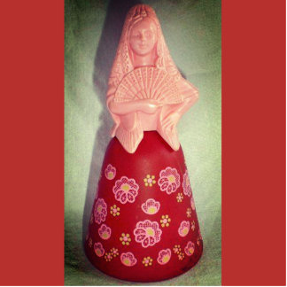 Vintage Spanish Senorita Standing Photo Sculpture