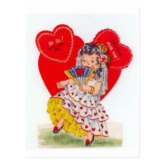 Vintage Spanish Senorita Valentine Postcard