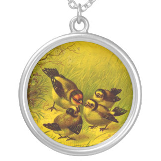 Vintage Sparrow Painting Necklace