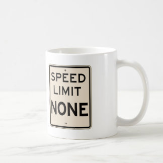 Vintage Speed Limit None Highway Road Sign Coffee Mug