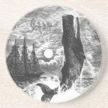 Vintage Sperm Whale Breaching, Marine Life Animals Sandstone Coaster