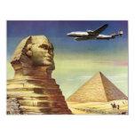 Vintage Sphinx Aeroplane Desert Pyramids Egypt 11 Cm X 14 Cm Invitation Card