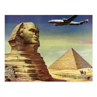Vintage Sphinx Airplane Desert Pyramids Egypt Giza Postcard