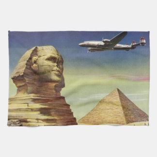 Vintage Sphinx Airplane Desert Pyramids Egypt Giza Towel