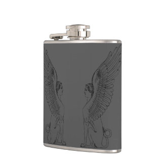 Vintage Sphinx illustration Hip Flask