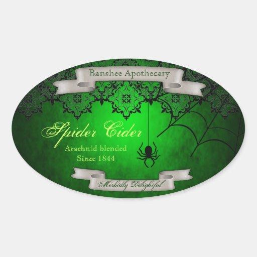 Vintage Spider Cider Halloween Bottle Stickers