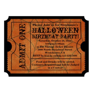 Vintage Spider Web Halloween Birthday Party Card