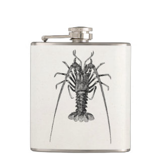 Vintage Spiny Lobster Personalized Template Hip Flask