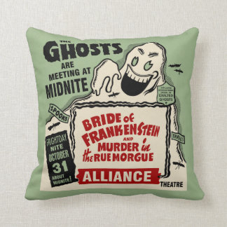 Vintage Spook Show Poster Art - Ghosts at Midnight Cushion
