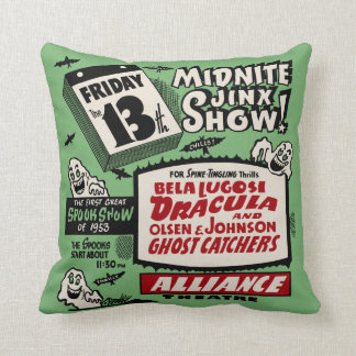 Vintage Spook Show Poster - Friday the 13th ! Throw Pillow