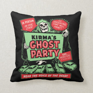 Vintage Spookshow Poster Art - Kirma's Ghost Party Cushion