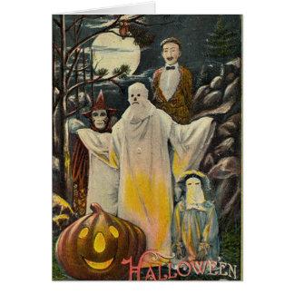 Vintage Spooky Halloween Costumes Card