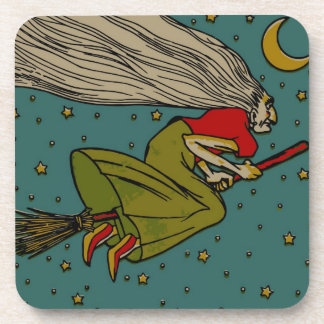 Vintage Spooky Halloween Witch on Broom and Moon Drink Coasters