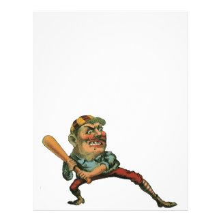 Vintage Sports Angry Baseball Player Personalized Flyer