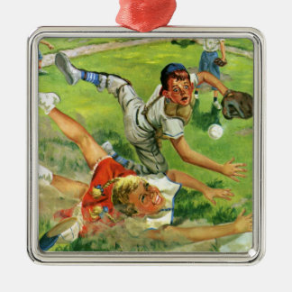 Vintage Sports Baseball, Children Teams Playing Metal Ornament
