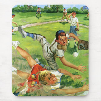 Vintage Sports Baseball, Children Teams Playing Mouse Pad