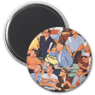 Vintage Sports Baseball Fans Watching a Game Refrigerator Magnet
