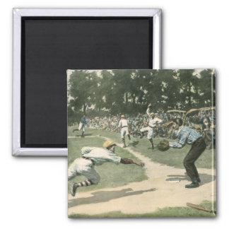 Vintage Sports, Baseball Player Sliding into Home Square Magnet