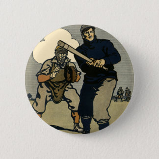 Vintage Sports, Baseball Players in a Game 6 Cm Round Badge