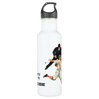 Vintage Sports Baseball Players Safe at Home Plate 710 Ml Water Bottle