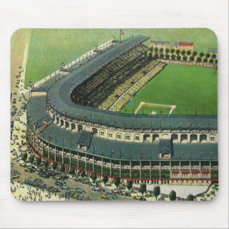 Vintage Sports Baseball Stadium, Aerial View Mouse Pad