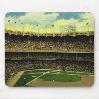 Vintage Sports, Baseball Stadium, Flags and Fans Mouse Pads