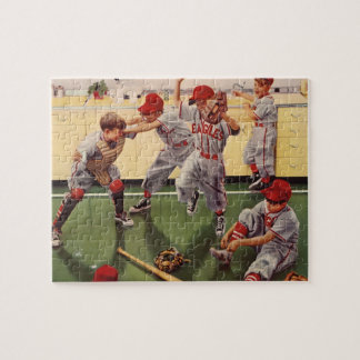 Vintage Sports Baseball Team, Boys in a Food Fight Jigsaw Puzzle