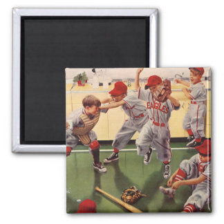 Vintage Sports Baseball Team, Boys in a Food Fight Magnet