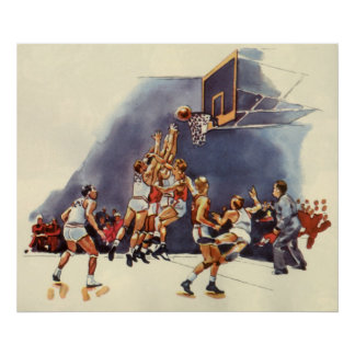 Vintage Sports Basketball Players Game Posters