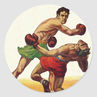 Vintage Sports, Boxers in a Boxing Fight Round Sticker