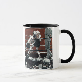 Vintage Sports Boxing, Boxers Fight in the Ring Mug