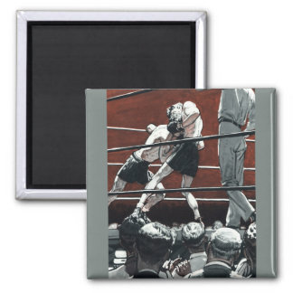 Vintage Sports Boxing, Boxers in the Ring Square Magnet