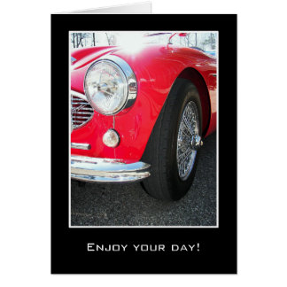 vintage sports car greeting card