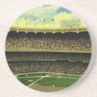 Vintage Sports, Flags and Fans in Baseball Stadium Coaster