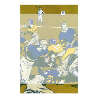 Vintage Sports Football Game, Gold vs. Blue Teams Stationery