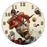 Vintage Sports, Football Player Running Wall Clocks
